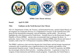 「Guidance on the North Korean Cyber Threat 」