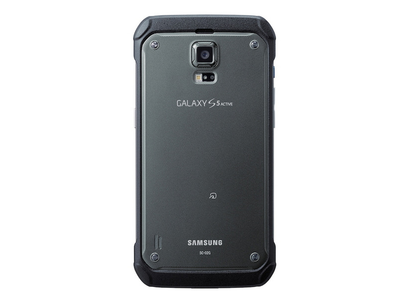 「GALAXY S5 Active SC-02G」、Titanium Gray背面