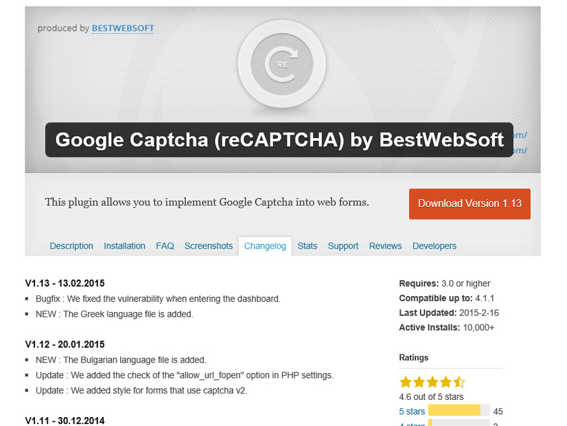 「Google Captcha (reCAPTCHA) by BestWebSoft」ページ(WordPress内)