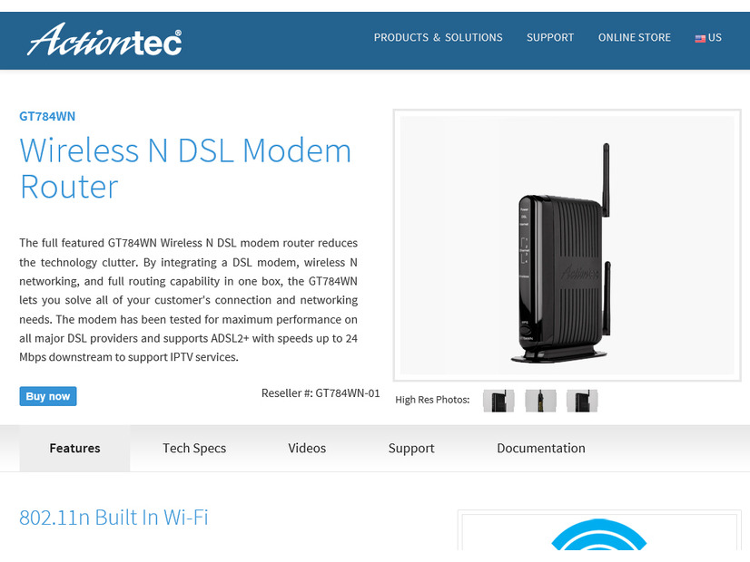 「Actiontec GT784WN Wireless N DSL モデムルータ」のページ