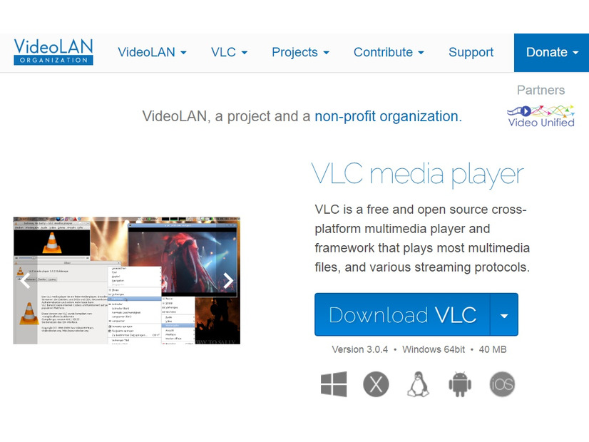 The VideoLAN project 公式サイト