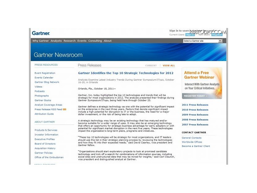 ガートナーによる発表(Gartner Identifies the Top 10 Strategic Technologies for 2012)