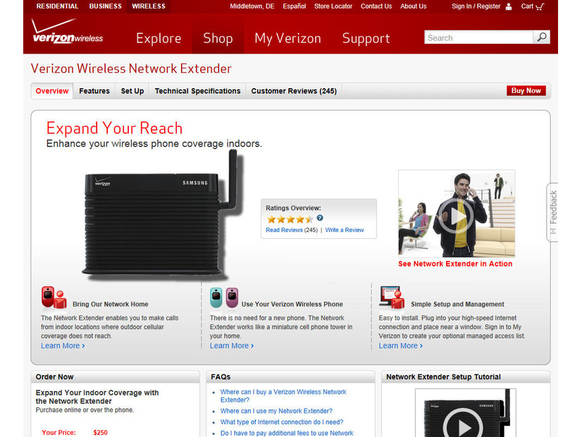 「Verizon Wireless Network Extender」の製品サイト