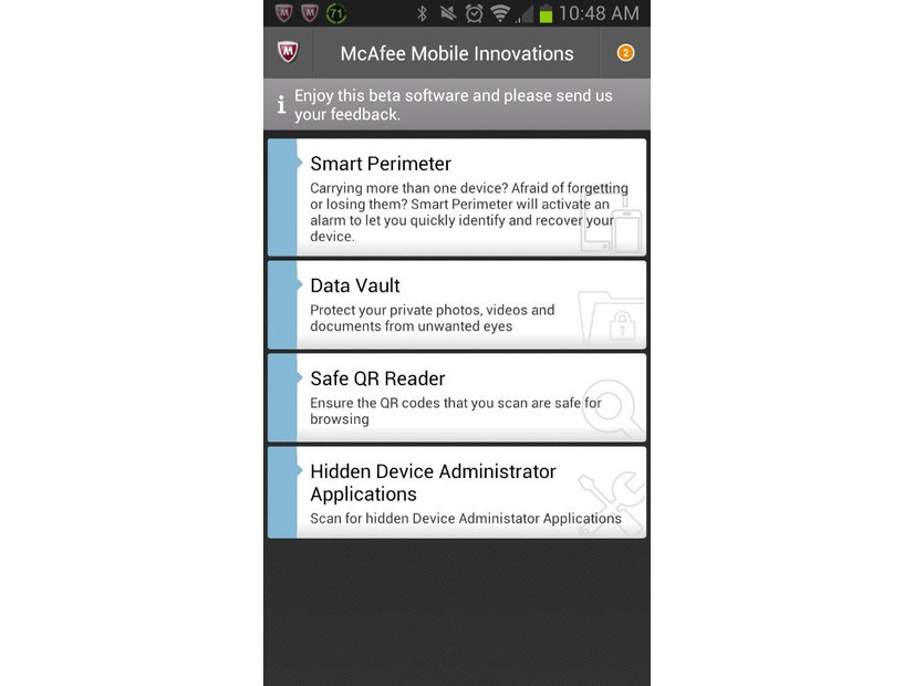「McAfee Mobile Innovations」で隠しアプリを検出