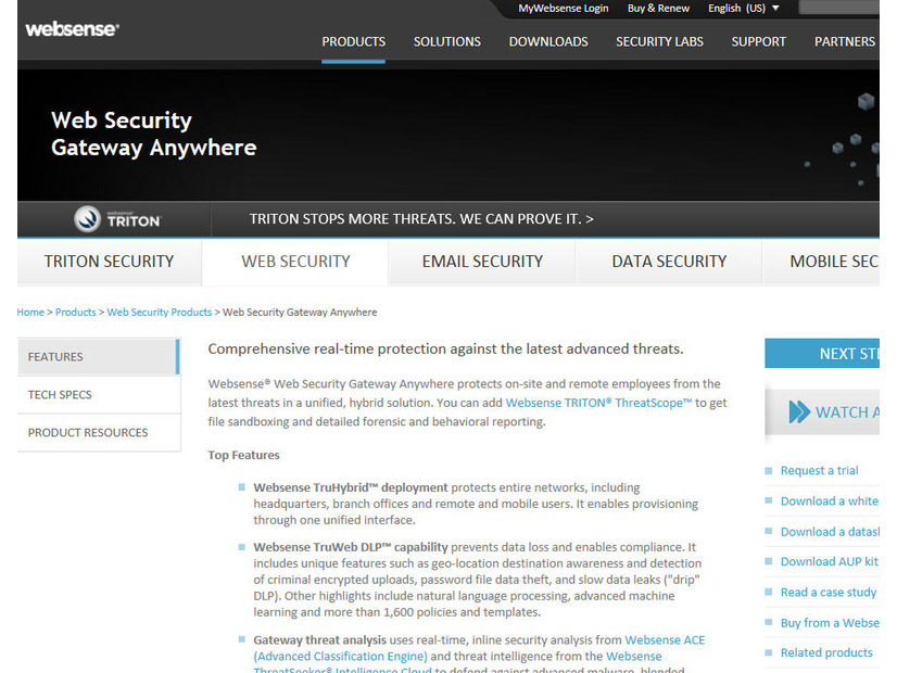 Websense「TRITON Unified Security Center」のサイト