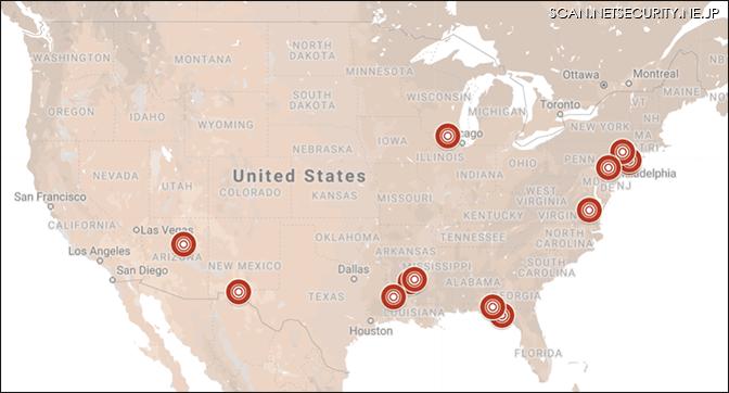 米国各地の攻撃発生状況